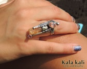 Imperial Topaz Ring Feather Silver Ring 6 1/2 US