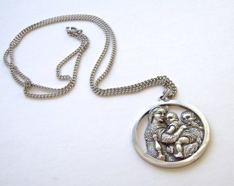 Vintage Sterling Silver Pendant, Madonna and Child, John the Baptist, Chain, Repousse, Catholic, Renaissance, Iconography, Sterling Chain