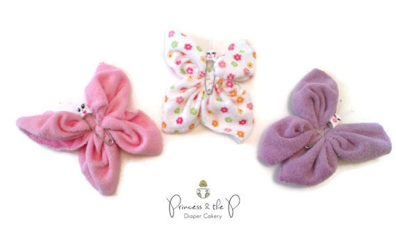 Washcloth butterfly butterfly baby shower by for Baby shower decoration butterfly
