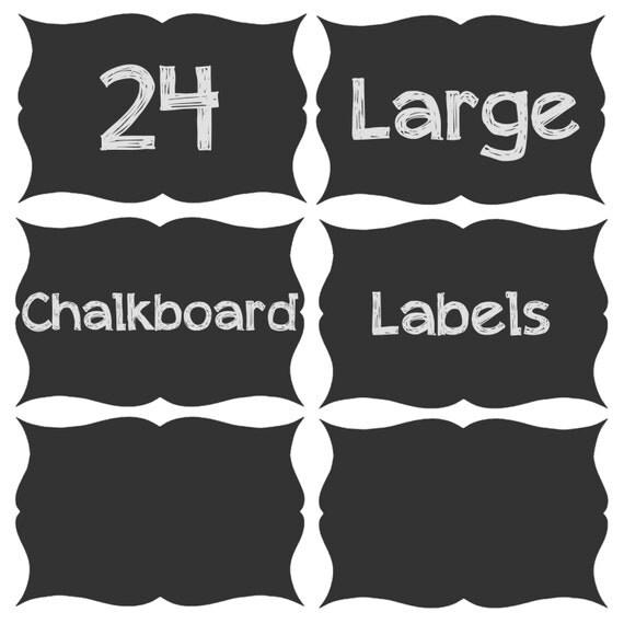SALE!!! 24 Large Chalk Board Labels 5.5in x 3.75in on Adhesive Chalkboard Vinyl