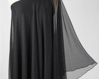Baylis & Knight SHEER STUDIO 54 Batwing 70's Disco Glam One Shoulder Bat Wing KNEE Dress Black Elegant (Smock)