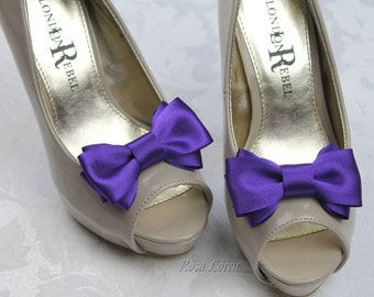 Dark Purple Shoe Clip, Purple Bow Shoe Clips, Purple Wedding Accessories Shoes Clip, Purple Bow Clip Shoes