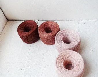 400gr / 14oz. laceweight linen yarn - brown, wild rose, pale pink, light pink -  fall autumn harvest