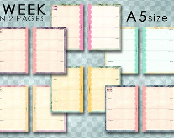 Printables 1week-2pages page for FIlofax A5 size