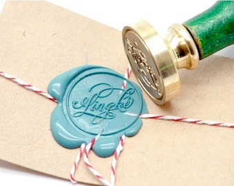 B20 Wax Seal Stamp Personalized Custom Fancy Swirl Calligraphy First / Family Name
