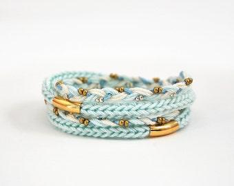 Mint wrap bracelet with tubes, braided bracelet, mint bracelet with knit cord