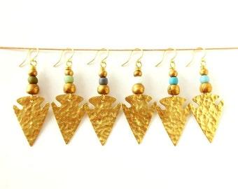Boho Jewelry Brass Arrowhead Earrings Tribal Earrings - Pick Your Color - Bohemian Jewelry Tribal Jewelry Ethnic Jewelry - Dangle Earrings