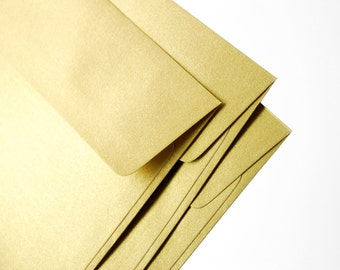 "A7 (5x7) Gold Envelopes - Perfect for 5""x7"" wedding invitation and cards (pack of 10 or 20) - The actual size is 5 1/4""x7 1/4"""