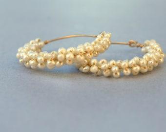 FREE Shipping- Pearls Thick Gold Hoop earrings, 14K gold filled, Bridal Pearl Hoop,White Pearl Hoops, Freshwater pearl, Birthstone Earrings