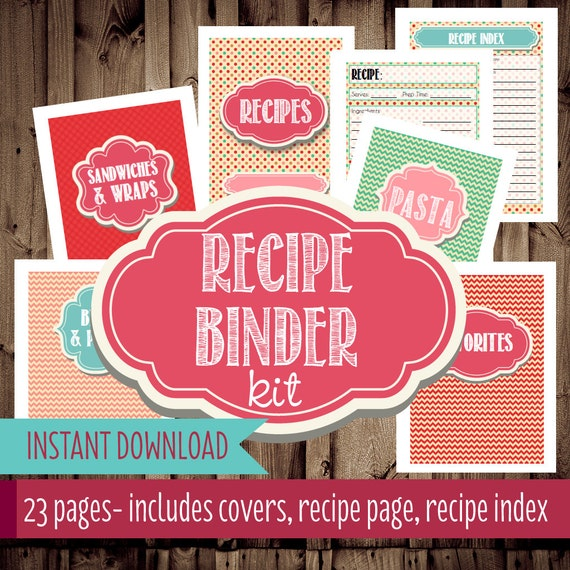 Recipe Binder Printables-Recipe Organizer By