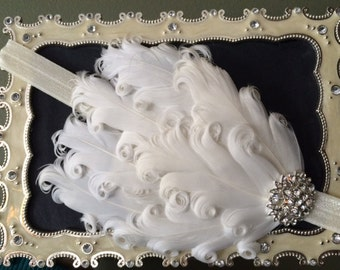 Ivory Vintage Feather Headband, Off White Headband, Nagorie Feather Headband, Feather Headband