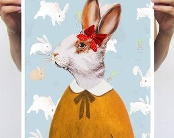 Rabbit Bunny Print, Rabbit Art Print, Rabbit Print, Rabbit Art, Bunny Print, Rabbit Wall Art, Blue, Lady, Wall Decor, Women, Art Print