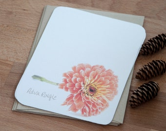 Zinnia Personalized Note Card Set - Stationery Gift for Her