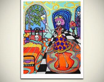 Day of the Dead Nurse Corazon. La Catrina Art Print. Pinup Nurse Art. Skeleton Doctor Portrait dia de los muertos. Gothic Hospital painting