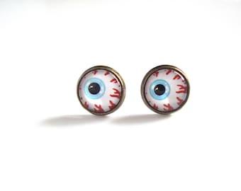 12mm Scary Eye Earrings, Scary Eye Stud Earrings, Bloody Eye Jewelry, Scary Eyeball Earrings, Scary Eye Post Earrings, Scary Eyeball Jewelry