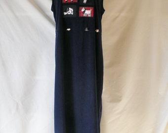 Sz 10 12 Jumper Maxi Dress - Navy Blue - Dog Motif Design - Full Floor Length - Size   L - Modest - Poodle Scottie