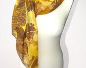 Big silk scarf AUTUMN LEAVES hand painted silk scarves - batik - brown scarf - gold yellow brown - MinkuLUL