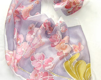 Orchid scarf - hand painted silk scarf - spring scarf - silk scarves - flower scarf - floral - violet scarf  - Mother Day