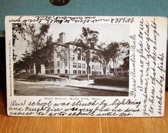 Vintage Postcard, Hyde Park High School, Massachusetts, Early 1900s Paper Ephemera