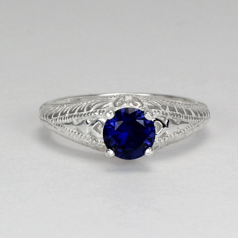 sterling silver sapphire ring blue sapphire silver ring