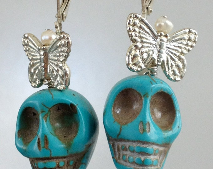 Turquoise Skulls with Butterflies Earrings  Day of t he Dead, Dia de los Muertos, Frida Khalo,