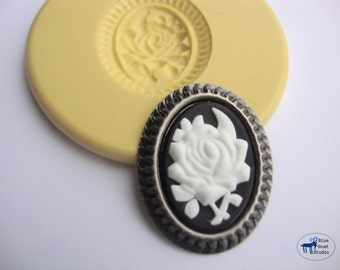 Flower Cameo Mold - Silicone Mold - Vintage Steampunk Cameo - Polymer Clay Resin Fondant