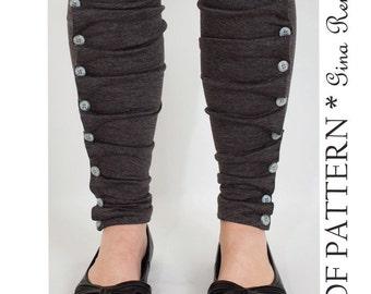 Pleated Leg Warmer Sewing Pattern. Womens Legwarmers Button Down PDF Sewing Pattern