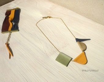 Geometric colorful necklace. Statement eco friendly necklace.