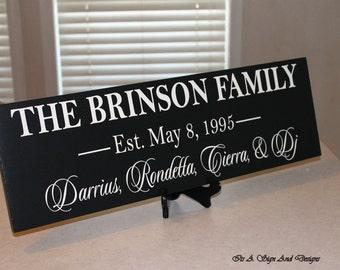 Last Name Signs Wood, Family Established Sign, Family Sign Home Decor, Home Sign, Family Sign Wood, Family Sign Personalized, Last Name Sign
