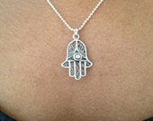 Silver Hamsa Necklace Hand of Fatima Sterling Silver Necklace UK Shop