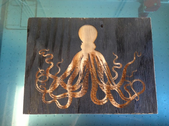 Wooden Octopus Wall Decor : Items similar to reclaimed wood octopus wall art on etsy