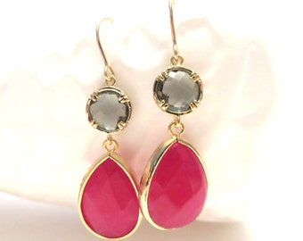 SUMMER LOVIN SALE // Pink and Grey Earrings Gold Earrings Bright Hot Pink Earrings Pink Bridesmaid Earrings Grey Wedding Jewelry