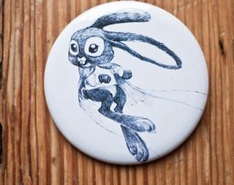 Rabbit button / Bunny pinback / Rabbit badge / stocking stuffer / Rabbit pin