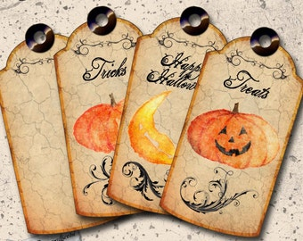 Halloween Printable Tags - Ready to Print Jack O Lantern Tags - Digital Collage Sheet - Journal and Scrapbook Paper Crafts