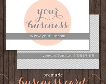 business card design - peach & grey herringbone - we design, you print
