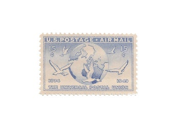 Set of 10  /////  1949 Vintage US Air Mail Stamps Ready to Use