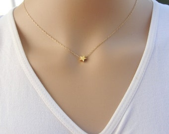 Tiny star necklace, Gold star necklace, delicate gold filled chain with gold plated charm, modern minimalist jewelry for everyday