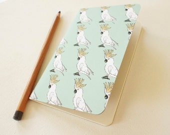 Mini journal covered with Cockatoos paper