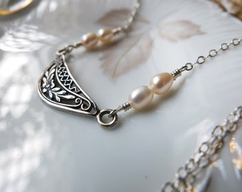Tia necklace - sweet intricate sterling floral pendant and ivory cream freshwater pearls necklace on textured sterling silver chain