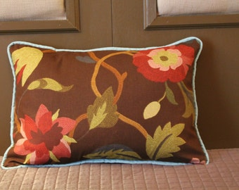 "14x20 inch Throw Pillow:  Brown, Blue and Red Richloom ""Lucy"" Birds - Free Shipping to Continental USA"