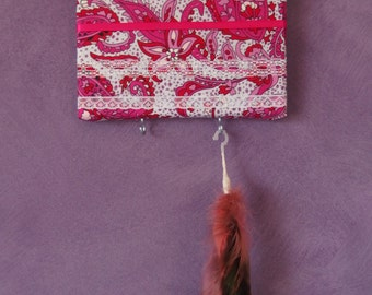 Handmade Jewellery Hanger -- Pink Material and Lace -- Jewellery Wall Hanger -- Jewellery Board