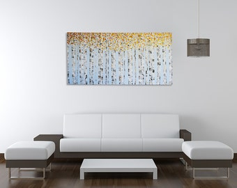 Birch Tree Painting - Aspen Tree Painting - Landscape Painting - Gold tree painting - Tree Painting - Tree art - Original painting - gold