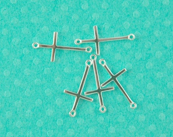 sterling silver sideways cross - 5pcs or more -  sterling cross connector link - silver 2 hole cross link charm - 925 stamped cross