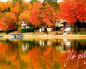 """Autumn Photography Fall Nature Forest Reflection Landscape Picture Orange Blue Boat Fire Fine Art Water Lake Trees Print 16x24"""", 24x36"""""""