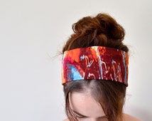 Watercolor Headband Colorful Hairband Orange Turquoise Stretch Hairband Headband Hairband Fashionable Yoga Hair Accessories, Designscope