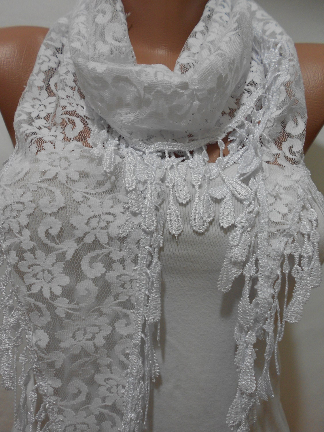 bridal accessories white lace scarf shawl cowl scarf by