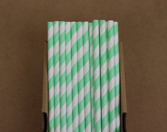 25 mint striped straws (PS0011)  - light mint green - party straws - with printable DIY flags