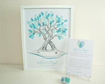 Custom Fingerprint Tree for Weddings - with beach theme