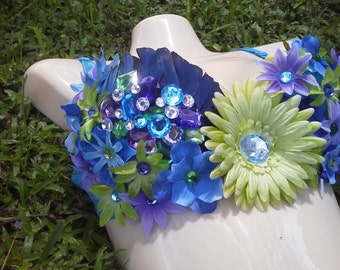Purple, Green, and Blue Custom Bra with Rhinestones, Feather, Flowers, and Butterflies