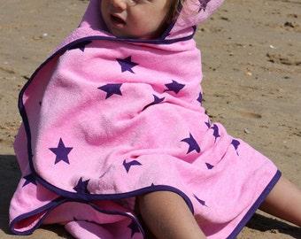 Girls Hooded Star Beach Towel